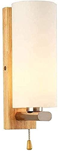 DHHVIC Lámpara de pared japonesa moderna lámpara de pared con base industrial de madera, pantalla de cristal E27 con interruptor de cable de tracción para dormitorio, sala de estar, villa corredor