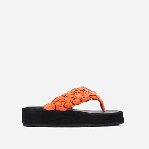 Tallas Grandes 2021 Verano Europeo Y Americano Casual Tejido Playa De Espiga De Mujer Zapatillas De Suela Gruesa Sandalias Naranja