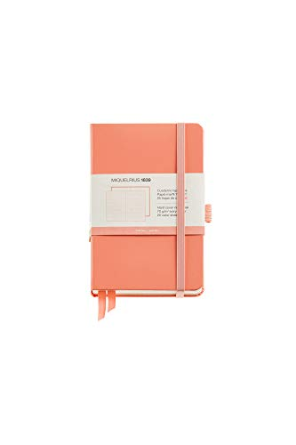 Miquelrius - Taccuino per appunti, copertina rigida in simil resistente, chiusura elastica, dimensioni 140 x 90 mm, 192 pagine da 80 g/m2, rigatura orizzontale da 7 mm, colore: pesca