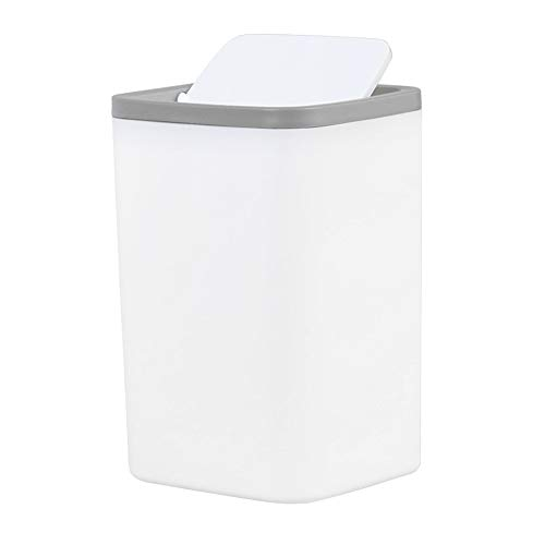 ミニテーブルゴミ箱、モダンなプラスチック製ミニゴミ箱ゴミ箱、バスルームの洗面化粧台のカウンタートップまたはテーブルトップ用のスイング蓋付きディスペンサー、コットンボール、綿棒用