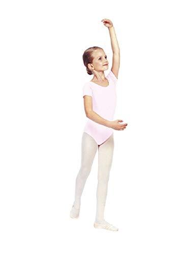 Sansha Maggy Mädchen Gymnastikanzug, kurzärmlig, Baumwolle Ideal für Ballett, Tanz, Gymnastik, Hellrosa, 140 cm