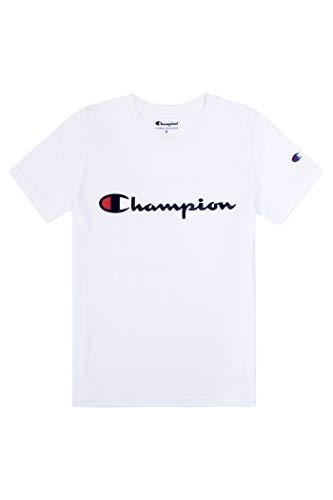 Champion Boys Heritage Short Sleeve Cotton Logo Tee Kids (Heritage White, X-Large)