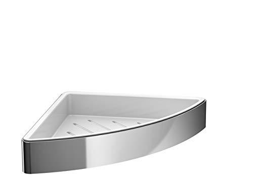 Emco loft Eck-Schwammkorb (Chrom, für Dusche und Badewanne, Kunststoffeinsatz herausnehmbar, Wandbefestigung) 54500103, Normal
