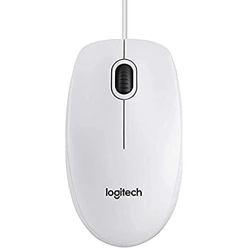 Logitech B100 Maus mit Kabel, USB-Anschluss, 800 DPI Optischer Sensor, 3 Tasten, Für Links- und Rechtshänder, PC/Mac/Chromebook - Weiß
