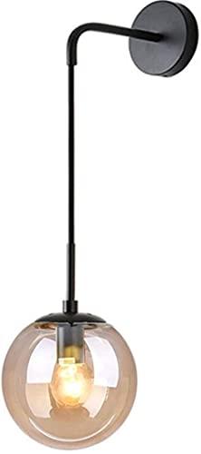 MWKL Industrial Vintage Loft Bar 20cm Globe Drop Wall Accesorio de iluminación Dormitorio Pasillo Aplique Luz Retro Bola de Cristal Lámpara de Pared (Negro, Ámbar)