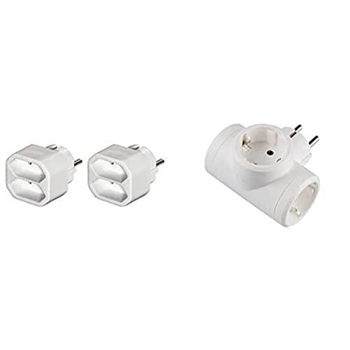 Hama Ladrón de 2 enchufes, color blanco + Legrand, 050662 Adaptadores Adaptador triple con entrada lateral
