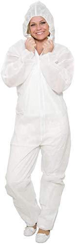 10 x Einweg Overall Weiß Gr. XXL Premium Plus | Dicke Qualität Maleroverall Schutzanzug für leichte Malerarbeiten, Lackierarbeiten, Reinigungsarbeiten | Maleranzug Schutzkleidung Overall mit Kapuze