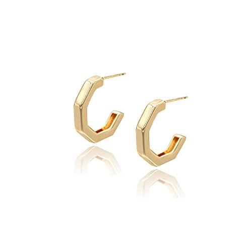 925 Silver Needle Simple Geometric Cast Copper Hoop Earrings 14K Gold Temperament Earring Accessories