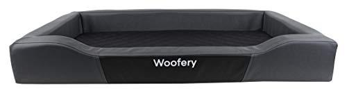Woofery - Hundebett Hundematte Minnie - Kunstleder Reißverschluss Grau/Schwarz 120 x 80 cm