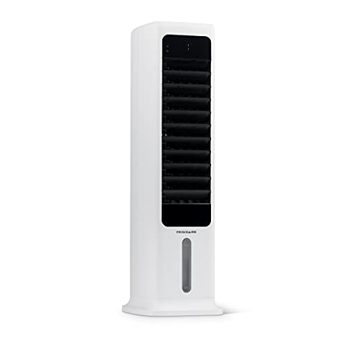 NewAir Frigidaire 2-in-1 Evaporative Air Cooler and Tower Fan, Cools up to 215 sq. | Energy Efficient Slim Cooling Fan with Removable Water Tank, 3 Fan Speeds, and Automatic Oscillation FEC450WH00