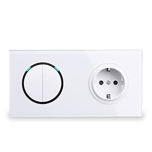 HLY-CASE Toma de Corriente de Pared de Panel de Vidrio Blanco + 2 Gang 2 Way ON/Off Pass A TRAVÉS del INDICADOR LED conmutado Diseño Elegante (Color : White, Voltage : AC 110-250V)