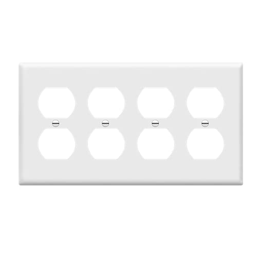 Enerlites 8824-W Duplex Receptacle Outlet Wall Plate, Standard Size 4-Gang, Polycarbonate Thermoplastic, White