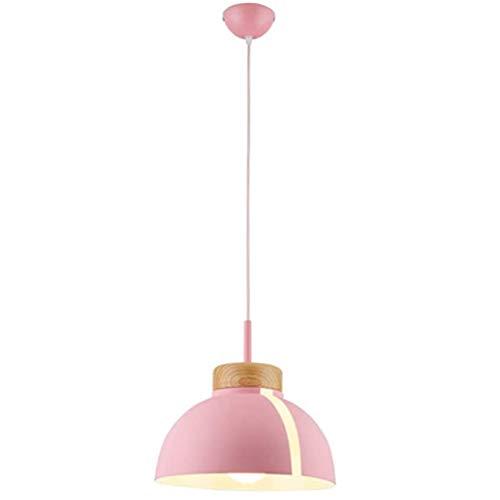 E27 Moderne hanglamp, LED hanglamp kleur metalen hanglamp Macarons Creative Design kroonluchter decoratieve houten hanglamp hoogte verstelbaar voor een woonkamer O31 * 29cm,Pink
