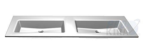 PELIPAL Solitaire 6010 Mineralmarmor-Doppelwaschtisch, Weiß/MMDWT 54-1530 / B: 153 cm