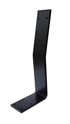 Rückenlehne Metall Rückenlehnen-Halterung für Sitz-Bank & Betten | Halterung zum Anschrauben | Stahl Rohstahl lackiert | Profil 60 x 8 mm | Möbelbeschläge (1 Stück schwarz)