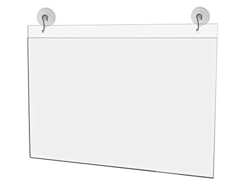 """Marketing Holders 17""""w x 11""""h Window Mount Ad Frame/Sign Holder with 2 Suction Cups with Hooks Lot of 1"""