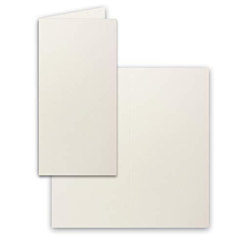 25x Falt-Karten DIN Lang - naturweiss (Weiß) - 10,5 x 21 cm - Blanko - Doppel-Karten - Klapp-Karten - 240 g/m²