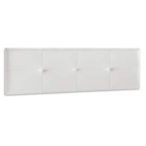 DISTRIGAL, S.L. Cabecero Cama Matrimonio tapizado en símil Piel Color Blanco, Cabezal Modelo Deva, Medidas: 189,5 cm (Largo) x 49,5 cm (Alto) x 3,5 cm (Fondo)