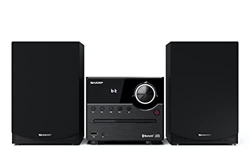 Sharp XL-B512(BK) Microcadena Sound System estereo con radio FM, Bluetooth v5.0, CD-MP3, reproducción USB, altavoces de madera y 45W color negro