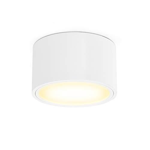 OPPER LED Aufputzleuchte Deckenleuchte flach mit LED GX53 230V 6W warmweiß 3000K,Decken Aufbauspot Ø95x55mm weiß rund