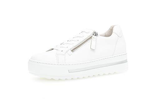 Gabor Damen Sneaker, Frauen Low-Top Sneaker,Comfort-Mehrweite,Reißverschluss,Optifit- Wechselfußbett, schnürschuh sportschuh,Weiss,37.5 EU / 4.5 UK