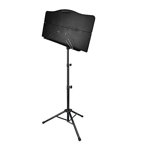 Estante de soporte de música portátil plegable 66cm-135cm con bolsa de transporte negro