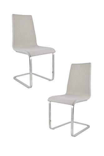 Tommychairs - Set 2 sillas London Estilo Cantilever con Patas de Acero Cromado de Alta Resistencia y Asiento en Madera Multicapa, tapizado en Tejido Color Gris Perla