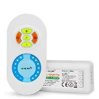 LIGHTEU, 2.4G Dual Weißer LED-Streifen RF Wireless Remote + Controller Empfänger DC12-24V Maximaler Ausgang 10A, Helligkeit dimmbar und Farbfarbtemperatur einstellbar, fut022