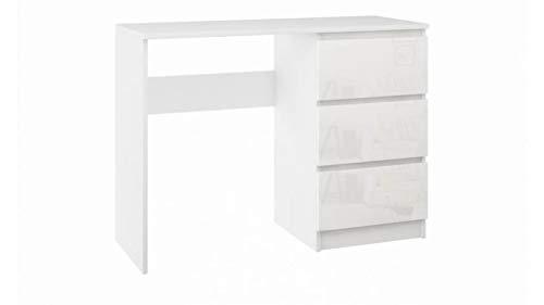 Schreibtisch Bürotisch Konsolentisch mit Schubladen Büromöbel Weiss Hochglanz