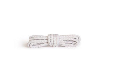 Kaps Runde Schnürsenkel, hochwertige strapazierfähige 100% Baumwolle Schnürsenkel, 1 Paar (90 cm - 5 bis 6 Ösenpaare / 01 - weiß)