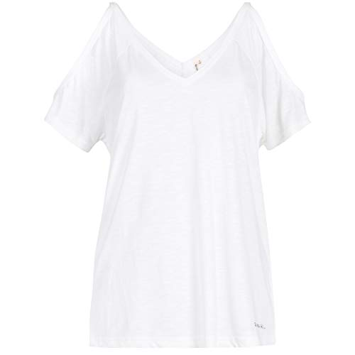 RIP CURL Salty Cold Shoulder Tee Tshirt Manches Courtes Femme, White, FR : M (Taille Fabricant : M)