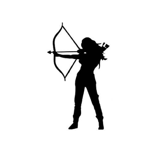 Cbhsjinsuxha 4 Piezas Pegatinas de Coche 9.1 CM * 15.6 CM Tiro con Arco Vinilo calcomanía Coche Pegatina Caza Arco y Flecha Mujer guerrera