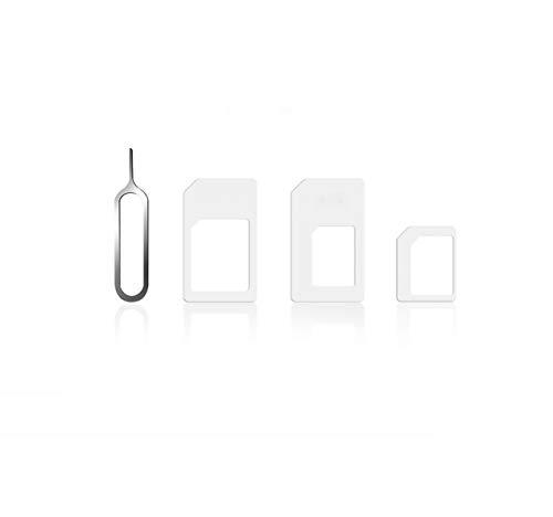 Deet® - Kit de tarjeta SIM 4 en 1 blanco Conversor Adaptador...