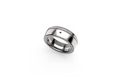 Bikkembergs Anillo de acero blanco negro para hombre con diamante negro de 0,01 ct BANR01WB