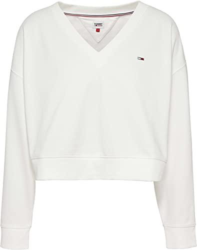 Tommy Jeans Damen TJW Soft V Neck Sweatshirt Pullover, weiß, M