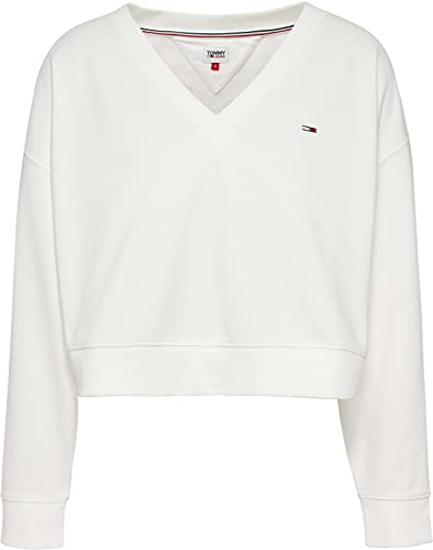 Tommy Jeans Damen TJW Soft V Neck Sweatshirt Pullover, weiß, L