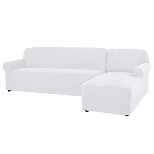CHUN YI Funda para Sofa Chaise Long Izquierdo, Brazo Derecho, Funda de Sofa L Elástica Cómoda para Proteger el Sofá y Antimancha (Chaise Longue Derecho, Blanco)