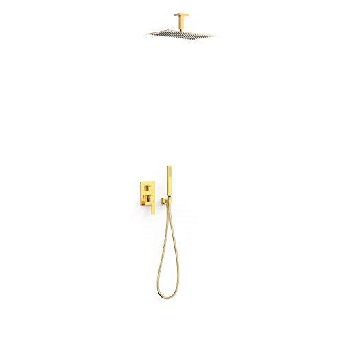 Kit de grifo monomando empotrado de 2 vías Rapid-Box para ducha, gama Slim-Exclusive, con rociador de 40 x 25 cm y ducha de mano, acabado oro (referencia: 20228003OR)