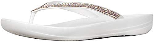 FitFlop Women's Iqushion Sparkle Ergonomic Flip-Flops Urban White 6 & Sunlotion