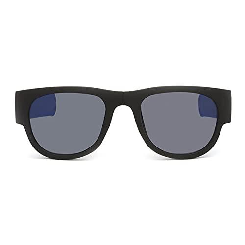 QiKun-Home Gafas de Sol de Montar con Anillo de presión Plegable Gafas de Sol Gafas de Sol para Hombre Gafas de Sol Gafas de Sol de Pulsera Plegable Marco Negro Pierna Azul Lente polarizada