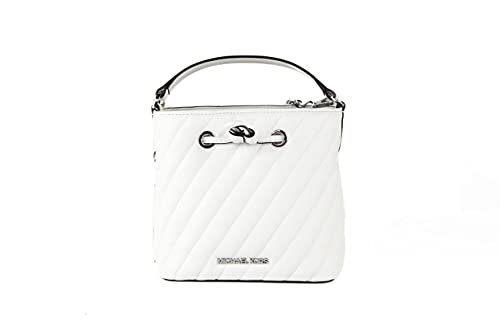 Description Condition: Brand New with Tags attached Style: Michael Kors Suri Small Quilted Vegan Faux Leather Crossbody Bucket Bag (Optic White) Material: Vegan Faux Leather, Polyester, Polyurethane Features: 2 Interior Slip Pockets, Drawstring Closu...