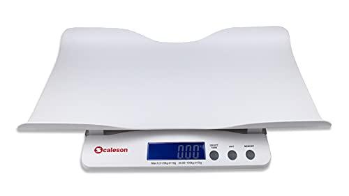 SCALESON S212 Báscula multifuncional para bebés y niños de diseño moderno | Medidas a partir de 200g de peso mínimo | & | Medidas hasta 100kg de carga máxima