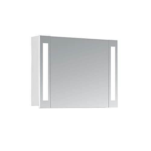 HAPA Design Spiegelschrank Venedig weiß mit LED Beleuchtung 12W 4000K, VDE Steckdose, Softclose Funktion und verstellbaren Glas Ablagen. Komplett vormontiert. SGS geprüft. (80 x 60 x 14 cm)