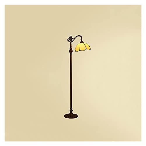 Lámpara de Pie Lámpara de pie vintage, lámpara de pie con pantalla de cristal, lámpara de polo alto para dormitorio Sala de estar Cocina Oficina de cena Lectura de la sala, interruptor de pie de encen