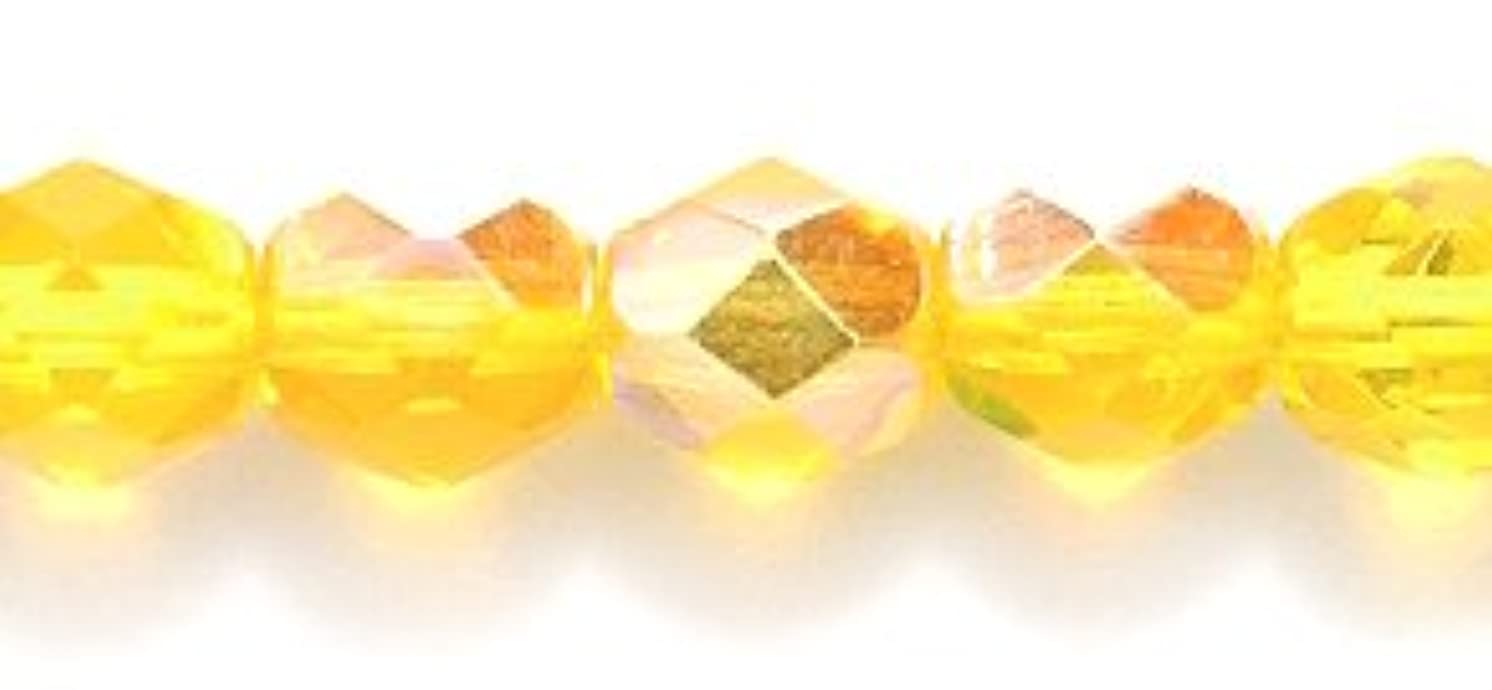 Preciosa Czech Fire 6 mm Faceted Round Polished Glass Bead, Tawny Yellow Aurora Borealis, 120-Pack