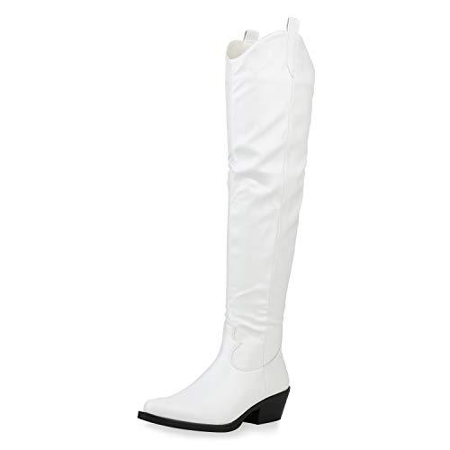 SCARPE VITA Damen Stiefel Overknees Lederoptik Holzoptikabsatz Schuhe Trichterabsatz Langschaftstiefel Cowboy Boots 187183 Weiss 38