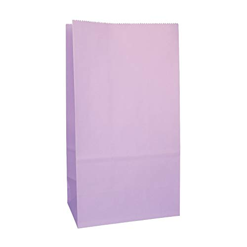 Party Favor Bag - 50 Pack Light Purple Lavender Lilac Color Paper Kraft Lunch Gift Treat Bags Ideal for Baby Shower, Birthday Party, Craft Projects, Gift Bags