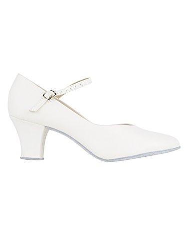 So Danca CH792 mit Ansteck Button Charakterschuhe Damen Latein Salsa Rumba Tanz Schuhe Riemchen Abs. 5 cm, Ivory, 37 EU