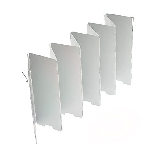 Vinnykud 10 Piatti Vento Lega di Alluminio Scudo Pieghevole Parabrezza per Fornello da Campeggio Paravento Protezione Anti-Vento per Cucina a Gas