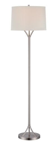 Lite Source LS-81990PS/WHT Floor Lamp with White Fabric Shades, 16' x 16' x 59.5', Chrome Finish
